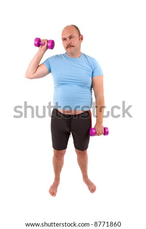 Demotivated sports man with dumbbells and a too tight shirt