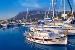 Denia marina port boats and Mongo mountain in Alicante Spain