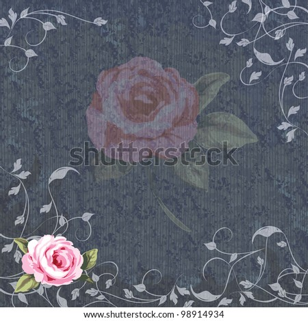 Denim and Floral Wedding Invitation Announcement with large faded rose center and a boarder of vines with a single pink rose in the corner.