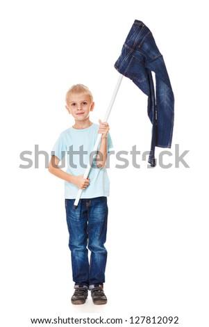 Denim fashion: boy with jeans flag