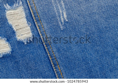 Denim Jacket Back View Double Denim Seam Rip Hole Texture On