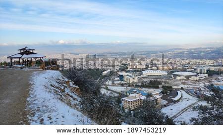 Denizli City view from Camlik Park with a beautiful sky in winter  Stok fotoğraf ©