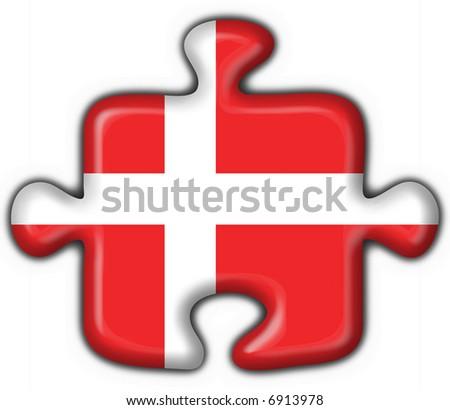 Denmark button flag puzzle shape