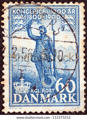 "DENMARK - CIRCA 1953: A stamp printed in Denmark from the ""1.000 years of Danish Kingdom"" issue shows Soldier's Statue (H. V. Bissen), circa 1953."
