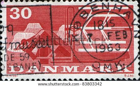 DENMARK - CIRCA 1960: A stamp printed in DENMARK honoring 1st Danish Food Fair, shows Combine-harvester, circa 1960