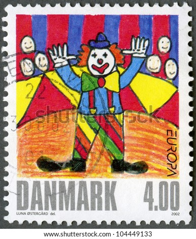 DENMARK - CIRCA 2002: A stamp printed in Denmark shows Clown, by una Ostergard, series Winning drawings in childrens stamp design contest, circa 2002