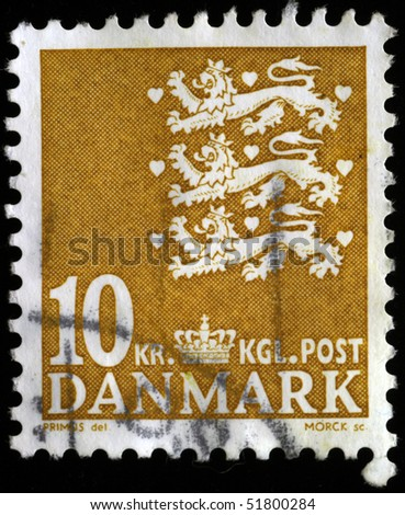 DENMARK - CIRCA 1900: A stamp printed in Denmark shows image of three lions, series, circa 1900