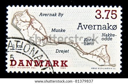 DENMARK - CIRCA 1995: A stamp printed in Denmark shows map of the island, circa 1995