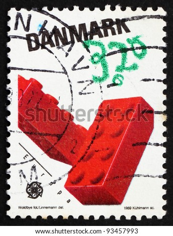DENMARK - CIRCA 1989: a stamp printed in the Denmark shows Lego Blocks, Children?s toys, circa 1989