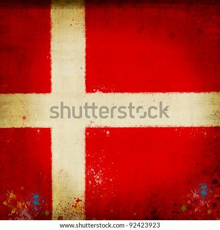 Denmark flag ,grunge and retro flag series