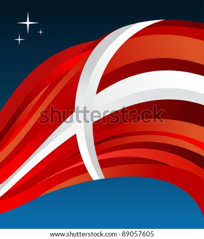 Denmark flag illustration fluttering on blue background.