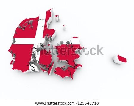 denmark flag on 3d map