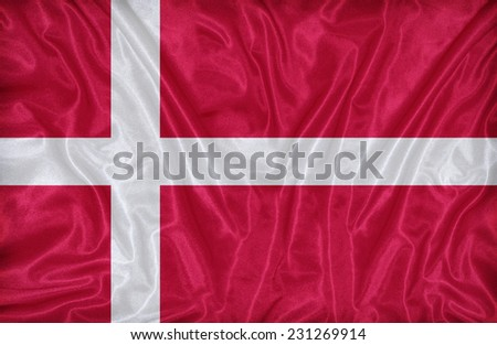 Denmark flag pattern on the fabric texture ,vintage style #231269914