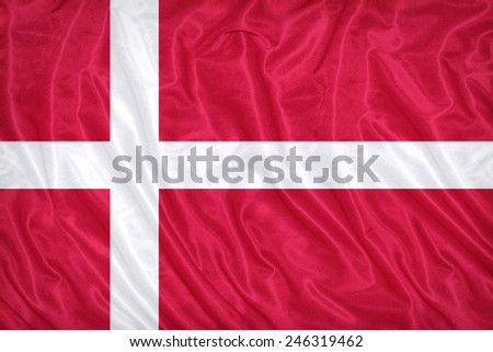 Denmark flag pattern on the fabric texture ,vintage style #246319462