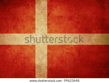 denmark flag with old texture grunge and vintage - stock photo