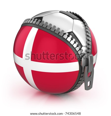 stock photo : Denmark football nation - football in the unzipped bag with Denmark flag print
