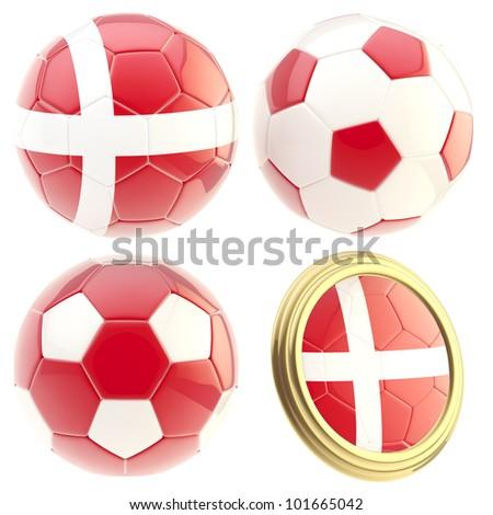Denmark football team set of four soccer ball attributes isolated on white
