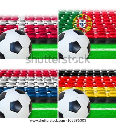 Denmark Germany Portugal Netherlands flag patterned on seat in outdoor stadium with white line on green grass.