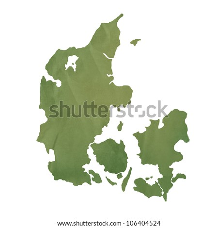Denmark map in old green paper isolated on white background.