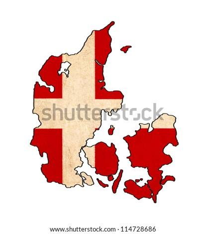 Denmark map on Denmark flag drawing ,grunge and retro flag series