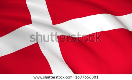 Denmark National Flag (Danish flag) - waving background illustration. Highly detailed realistic 3D rendering Foto stock ©