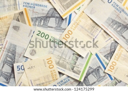 Denmark's banknotes, in different denominations