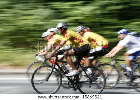 DENMARK - The cyclists riding by at the bicycle race Around Denmark 2008