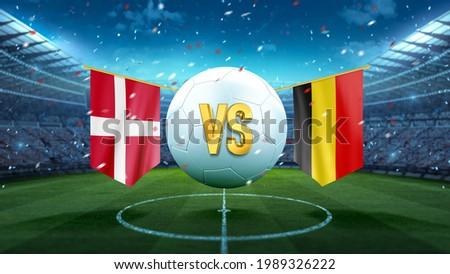 Denmark vs Belgium. Soccer concept. White soccer ball with the flag in the stadium, 2021. 3d render Foto stock ©