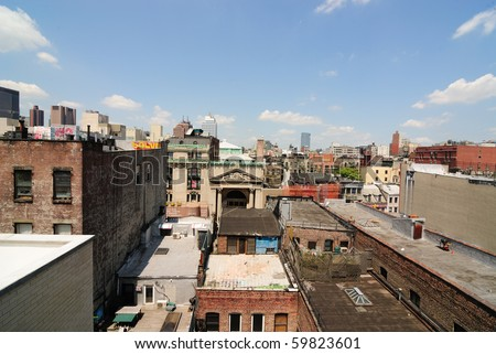 dense buildings in new york city
