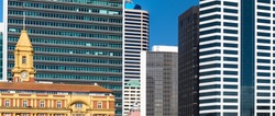 Dense high-riser buildings of Auckland, New Zealand, forming an abstract of modern architecture
