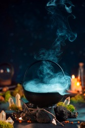 Dense steam above a cauldron, magical still life with smoke, fantasy book cover