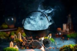 Dense steam above a cauldron, magical still life with smoke, fantasy header