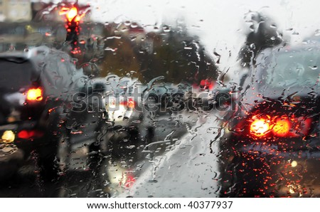 dense traffic on a rainy day