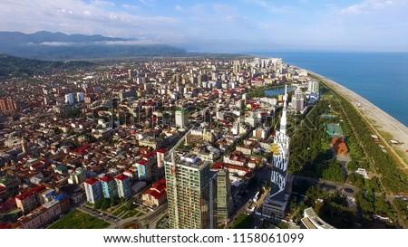 Densely built-up Black Sea resort city, Batumi Georgia aerial view, real estate