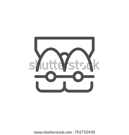 Dental braces line icon isolated on white