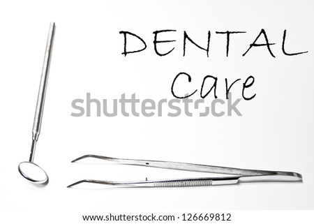 Dental care background with dentist tools equipment isolated