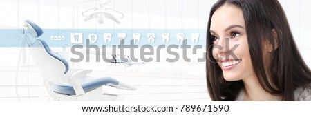 dental care concept, beautiful smiling woman on dentist clinic background with teeth icons and dentist's chair, web banner template