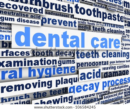 Dental care message design. Dental hygiene conceptual design