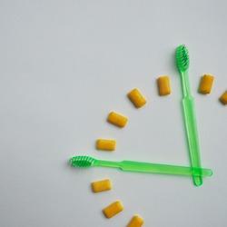 Dental care, time, clock, concept photography, gum