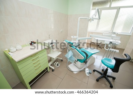 dental clinic interior design with chair and tools dental chair
