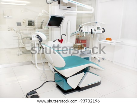 Dental clinic interior design with several working boxes and tools