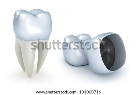 Dental crowns and tooth isolated on white