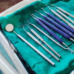 dental equipment in a tray