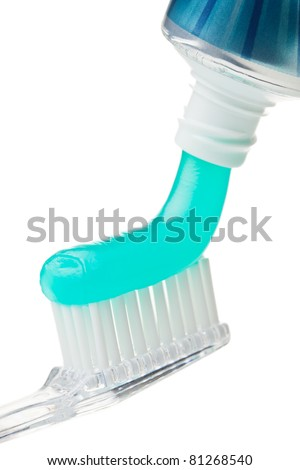 Dental hygiene. Toothbrush and toothpaste isolated on the white background.