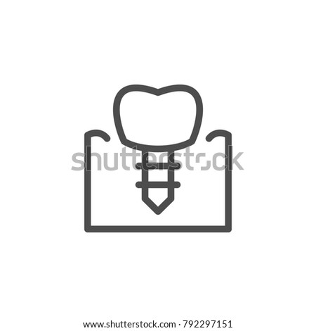Dental implant line icon isolated on white. Vector illustration