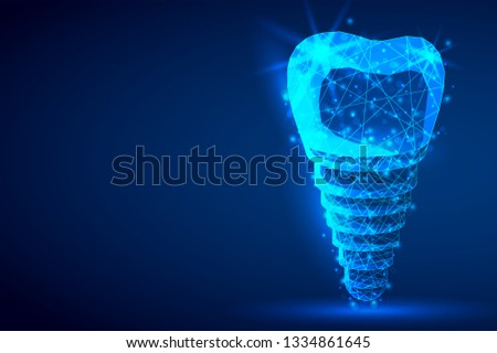 Dental implant polygonal genetic engineering abstract background. The isolated concept of  dental and orthodontics consists of low poly wireframe, geometry triangle, lines, dots, polygons, shapes.