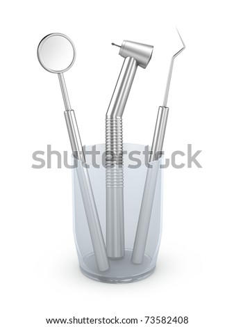 Dental instruments: mirror, probe and drill. Isolated on white