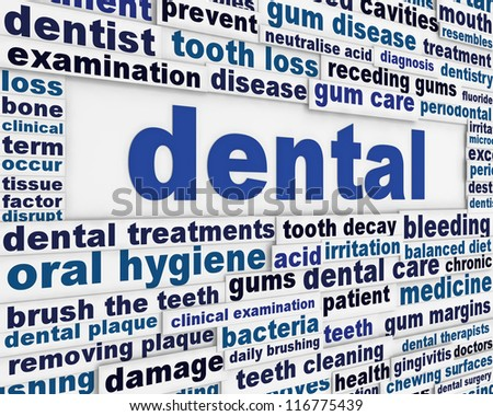Dental medical poster design. Dentistry message background design
