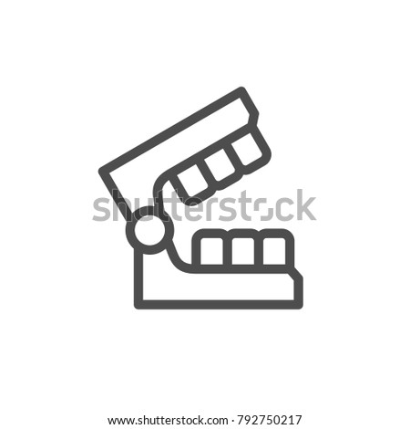 Dental mold line icon isolated on white