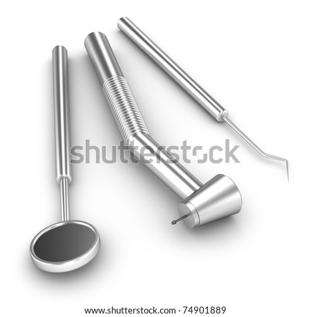 Dental set: mirror, probe and drill